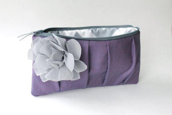 purple clutch purse with gray flower (by allisa jacobs)
