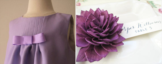 purple flower girl dress purple escort card flowers