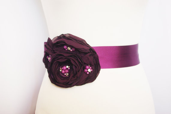 Flower Sash for Wedding Dress in Purple