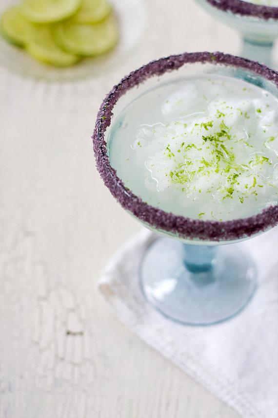 purple rimming salts for margarita bar wedding setup