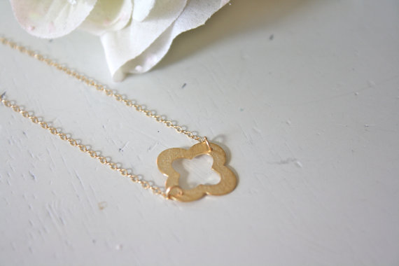 quatrefoil gold necklace | Wear Again Bridesmaid Necklaces by Ava Hope Designs from EmmalineBride.com