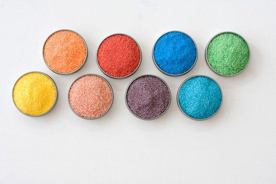 rainbow color rimming sugars for margarita bar wedding setup