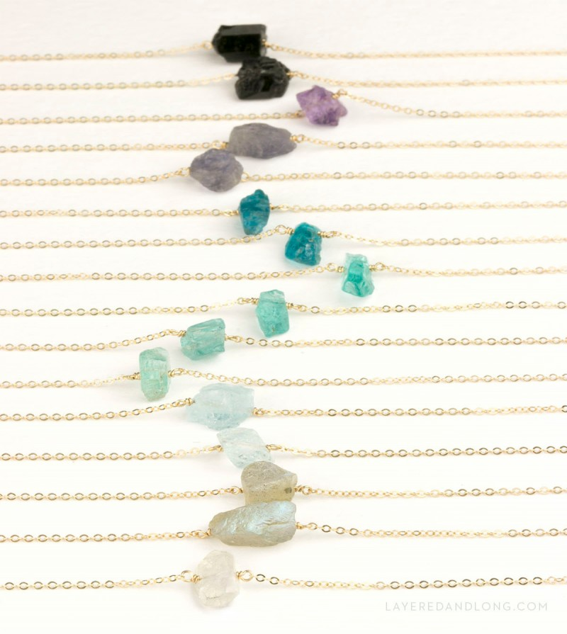raw crystal necklaces by layered and long