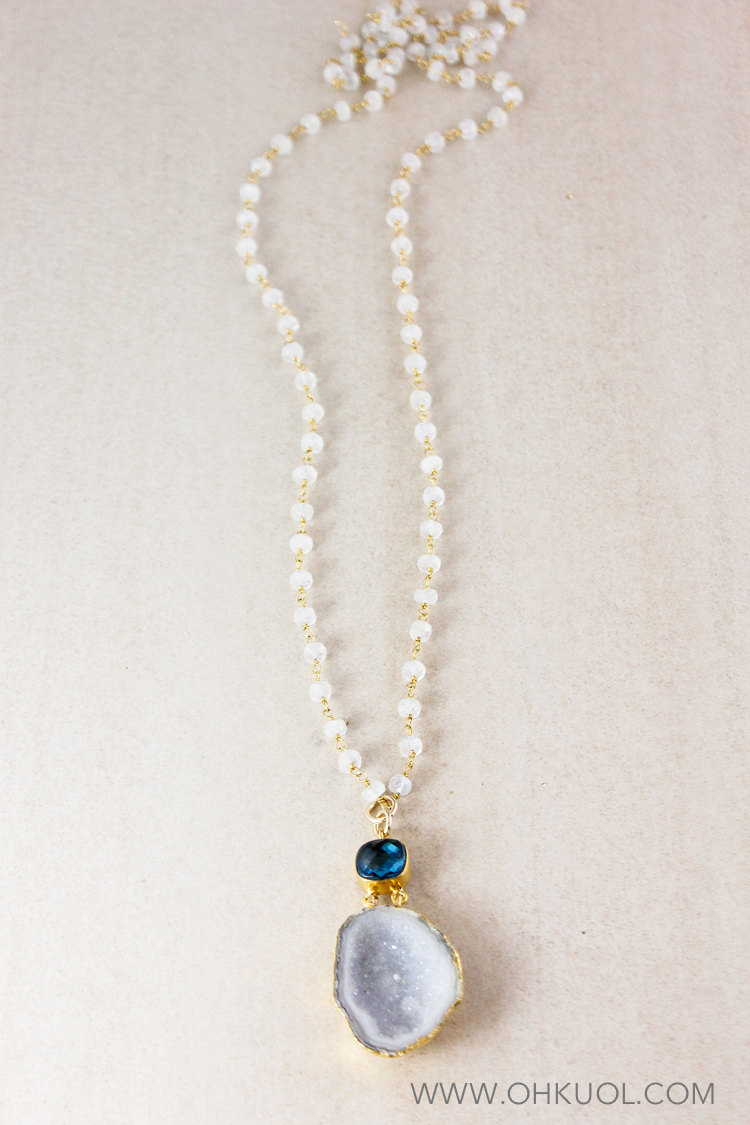 raw druzy layering necklace bridal