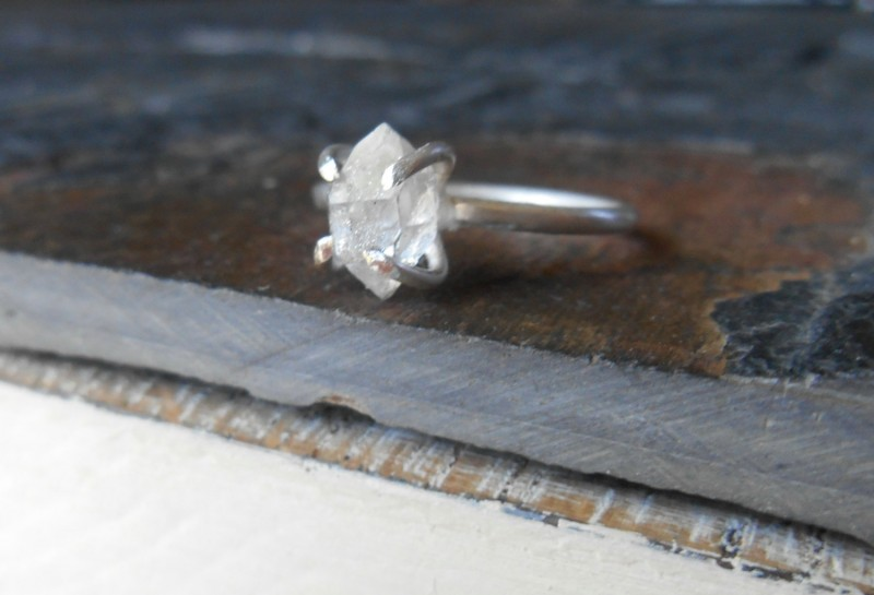 raw herkimer diamond ring by crazy gem love