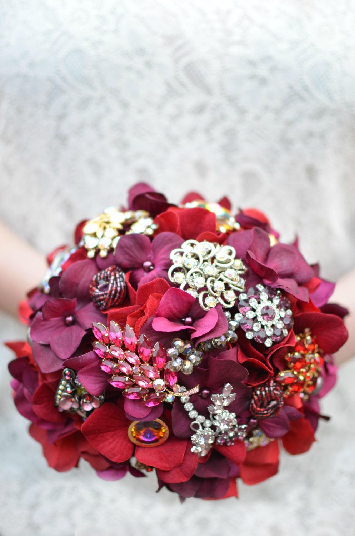red brooch bouquet