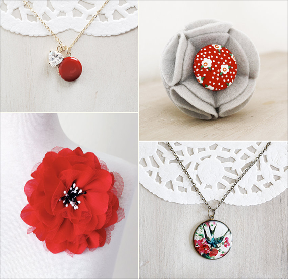 Red Lockets and Flower Brooches (by The Blooming Thread via EmmalineBride.com)