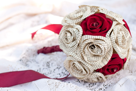 red paper rose bouquet via 7 Paper Flower Bouquets to Pick for Weddings