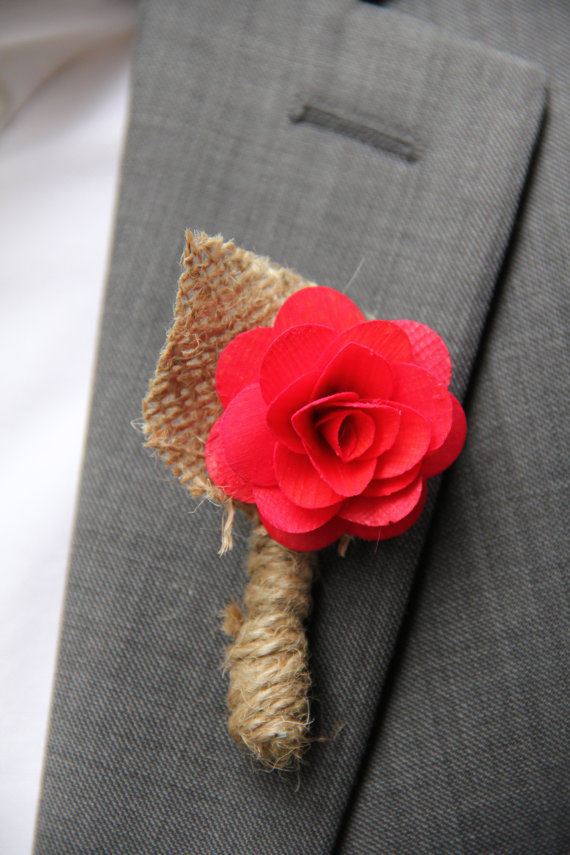 red flower rustic boutonniere wrapped in burlap twine with burlap flower | 28 Best Rustic Wedding Boutonniere Ideas