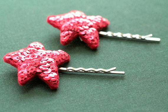 red sparkly star hair clips