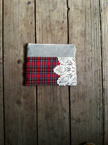 red tartan plaid doily clutch