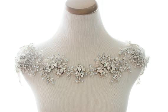 rhinestone bolero | via Wedding Dress with Statement Necklace http://emmalinebride.com/bridal/wedding-dress-with-statement-necklace/