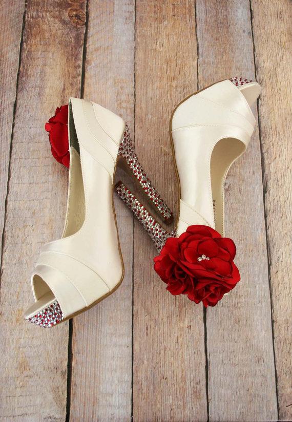 rhinestones and red heels | via 31 Best Handmade Wedding Shoes https://emmalinebride.com/bride/handmade-wedding-shoes/
