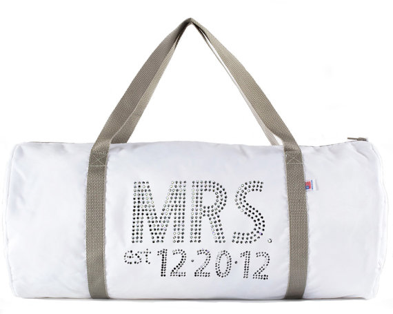 mrs duffel bag with rhinestones
