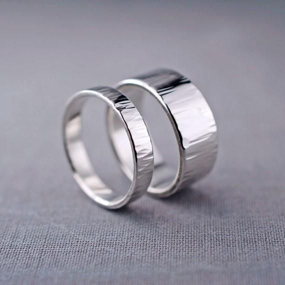 ripple textured | handmade wedding rings | http://emmalinebride.com/jewelry/handmade-wedding-bands/