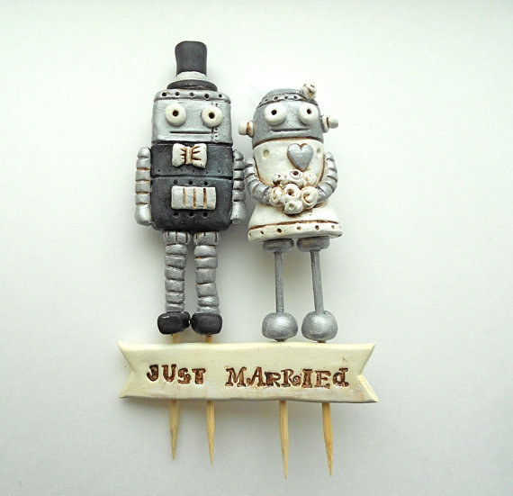 Unique Cake Toppers - robots in love cake topper