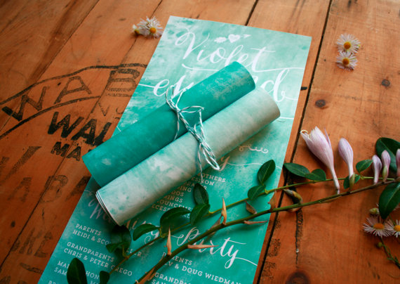 rolled-wedding-programs-watercolor