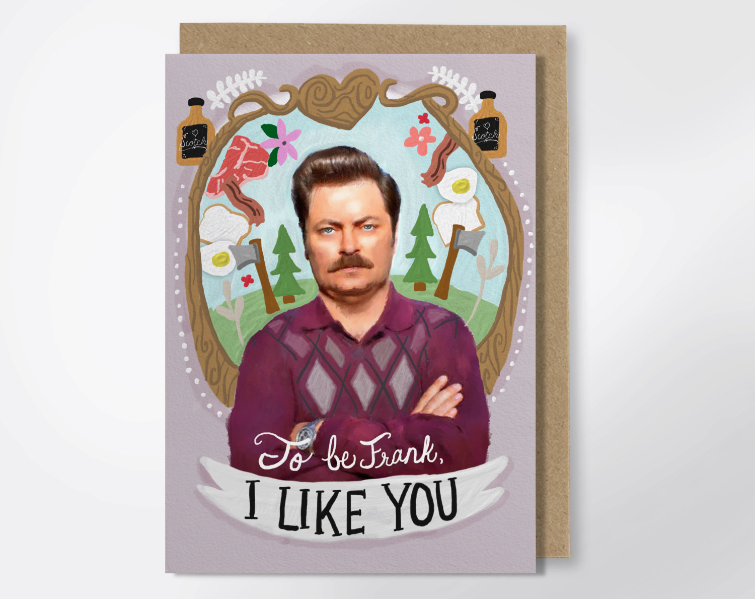 ron swanson valentines day card - via funny valentine cards etsy from EmmalineBride.com