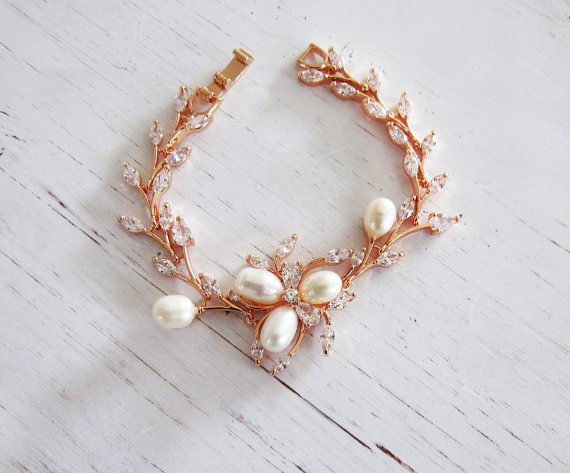 rose gold flower bracelet