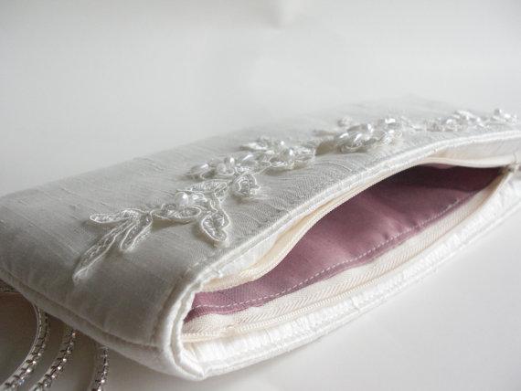 wedding wristlet - rose pink silk lining