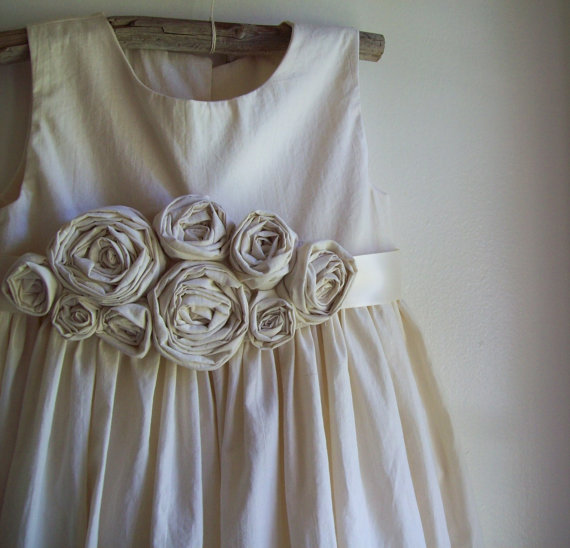 Roses - made of natural cotton | Organic Cotton Flower Girl Dresses