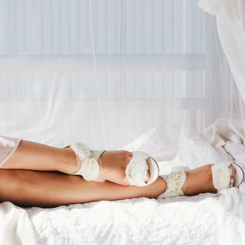 rosette bridal heels | via 31 Best Handmade Wedding Shoes http://emmalinebride.com/bride/handmade-wedding-shoes/