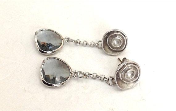 rosette wedding earrings