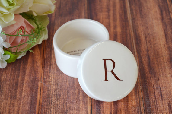 round jewelry box with initial on top for sister in law gift wedding