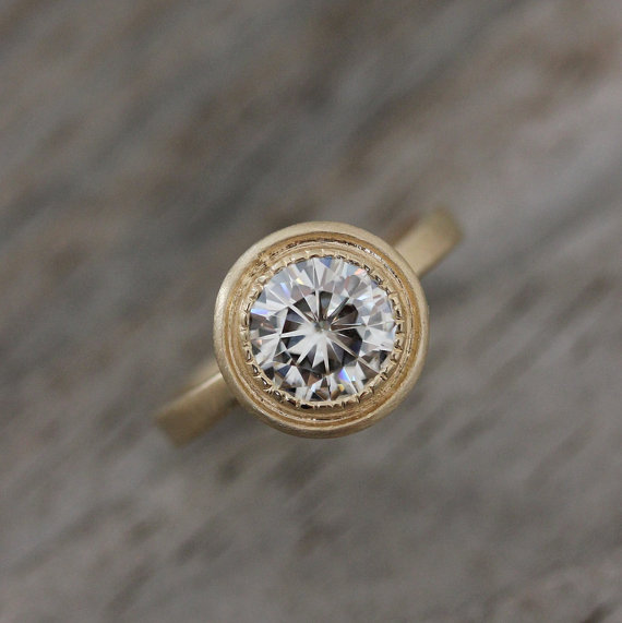 round moissanite engagement ring | Engagement Rings Etsy | via http://emmalinebride.com/jewelry/40-best-handmade-rings-ever/ ‎