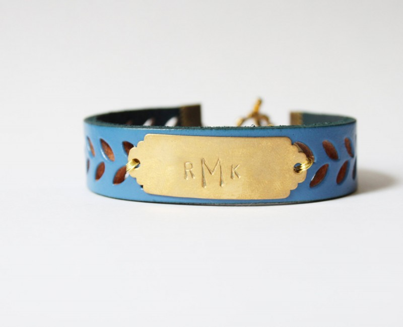 royal blue leather cuff bracelet | personalized bridesmaid bangle bracelets | https://emmalinebride.com/gifts/bridesmaid-bangle-bracelets/
