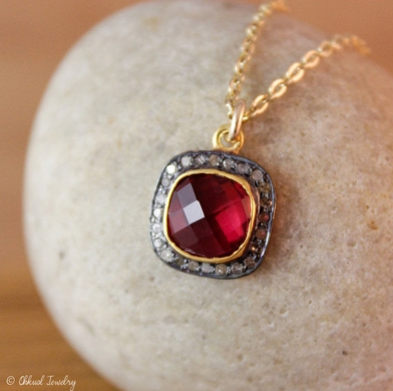 ruby pave necklace via 27 Amazing Anniversary Gifts by Year