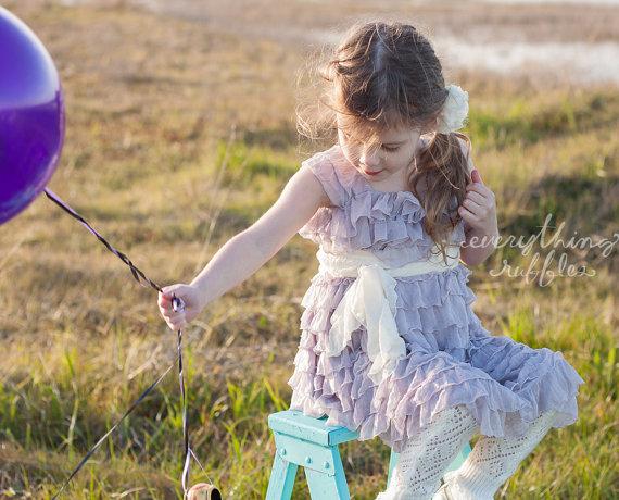 lavender flower girl dress with ruffles