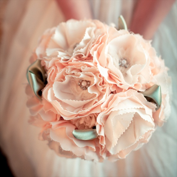 Fabric Flower Bouquet (by Autumn & Grace Bridal) - ruffled fabric bouquet