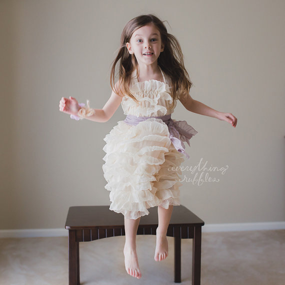 Ruffly Flower Girl Dresses with Sash