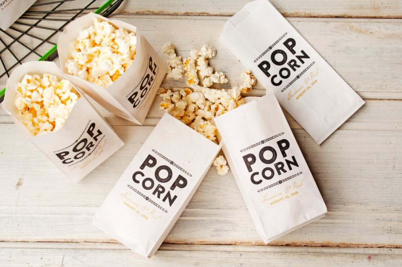 rustic and gold popcorn favor bags by Mavora Art and Design | via http://emmalinebride.com/planning/popcorn-favor-weddings/ popcorn favor weddings