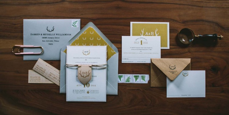 rustic antler wedding invitation suite
