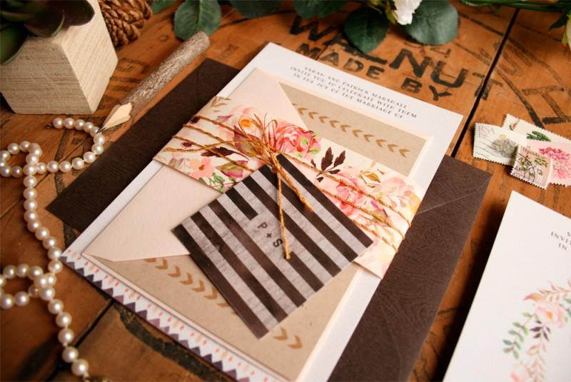 Rustic Floral Wedding Invitations by Paper Street Press   https://emmalinebride.com/rustic/rustic-floral-wedding-invitations/