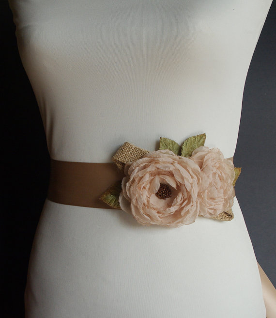 Flower Sash for Wedding Dress for Rustic Wedding | Made with Burlap