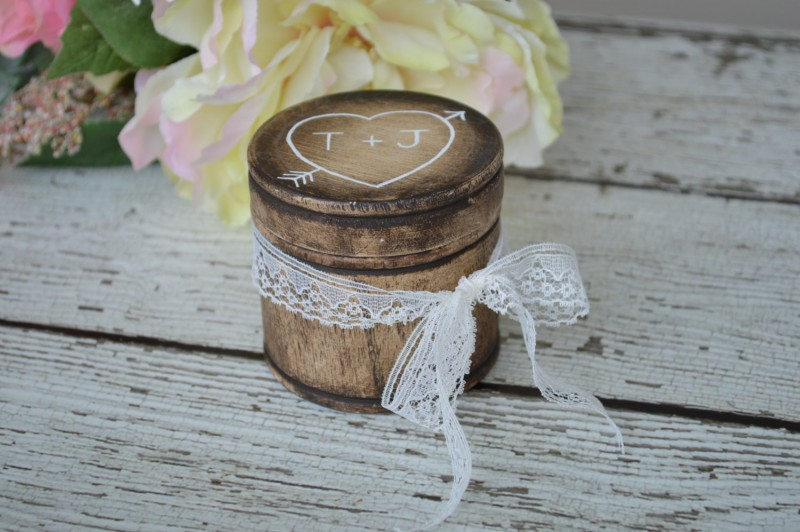 Rustic Wedding Ring Box | Round Ring Box