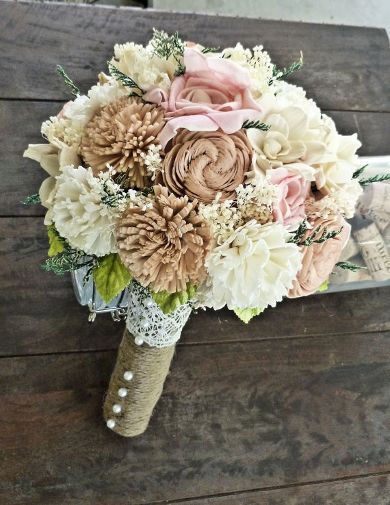 rustic sola bouquet (by Curious Crafts)