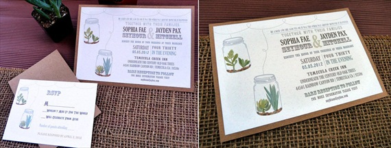 rustic succulent wedding invitation - Invitations for Wedding Themes
