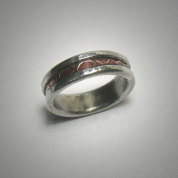 rustic textured band | handmade wedding rings | http://emmalinebride.com/jewelry/handmade-wedding-bands/