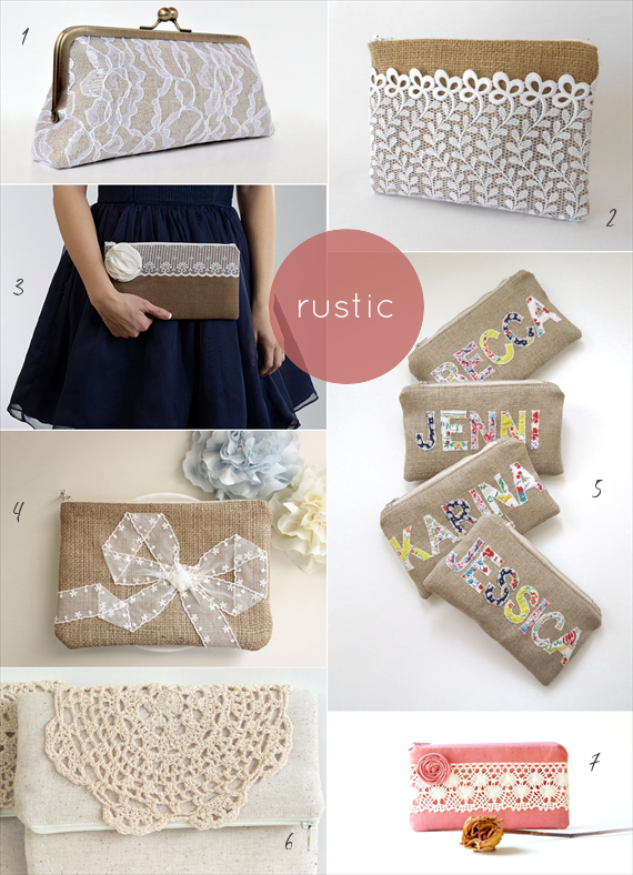 rustic wedding clutches by theme