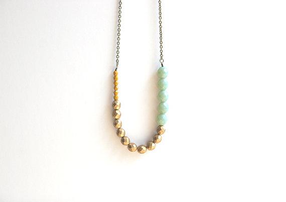 sage green boho necklace peachtreelane