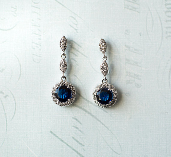 Sapphire crystal drop earrings | vintage bridal earrings | https://emmalinebride.com/bride/vintage-inspired-bridal-earrings