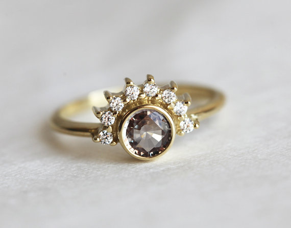 sapphire diamond engagement ring | Best Engagement Rings Etsy | via http://emmalinebride.com/jewelry/40-best-handmade-rings-ever/ ‎
