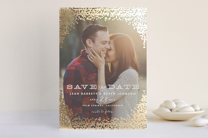 save the date with real foil | Foil Pressed Save the Date Cards via emmalinebride.com