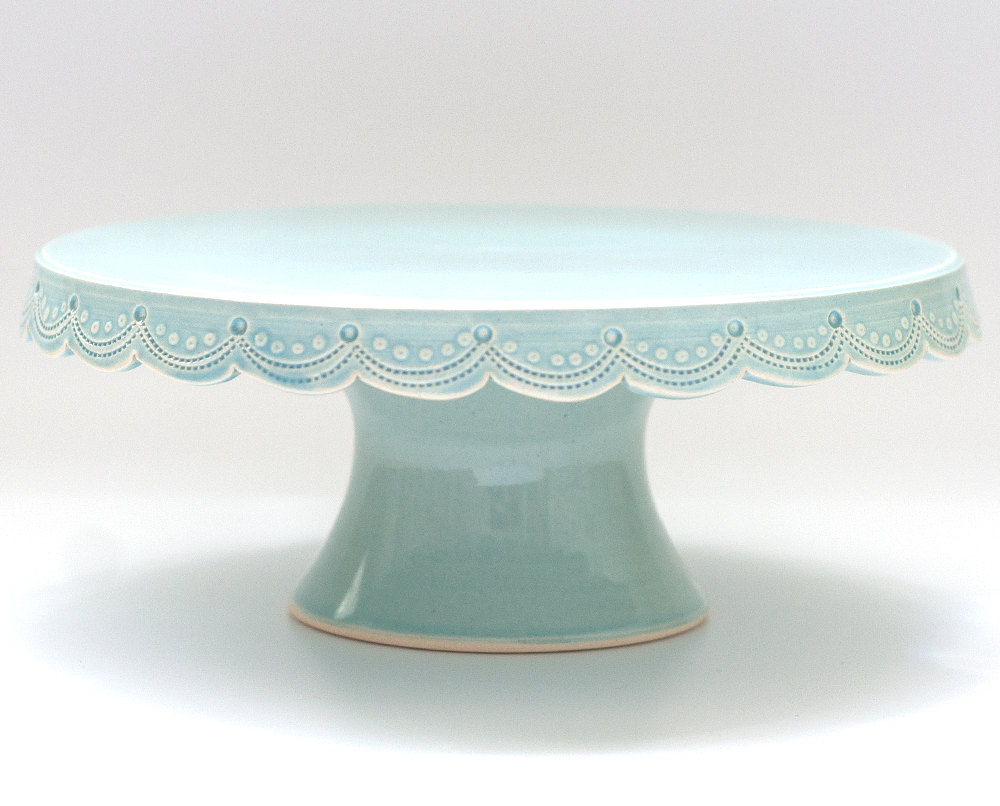 scalloped blue custom wedding cake stand