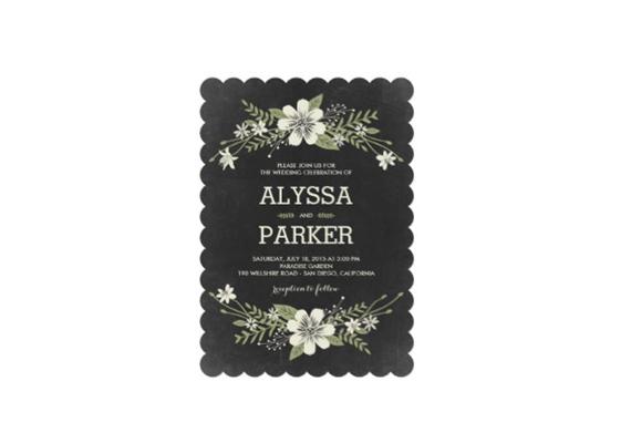 scalloped wedding invitation via uniquely shaped wedding invitations