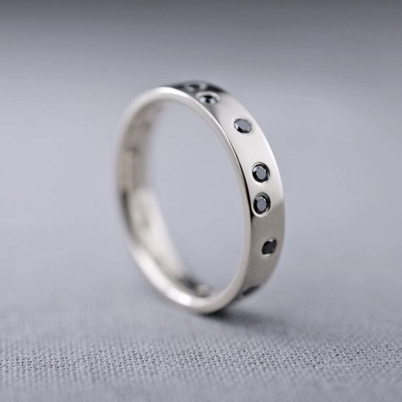 scattered black diamond band | handmade wedding rings | http://emmalinebride.com/jewelry/handmade-wedding-bands/